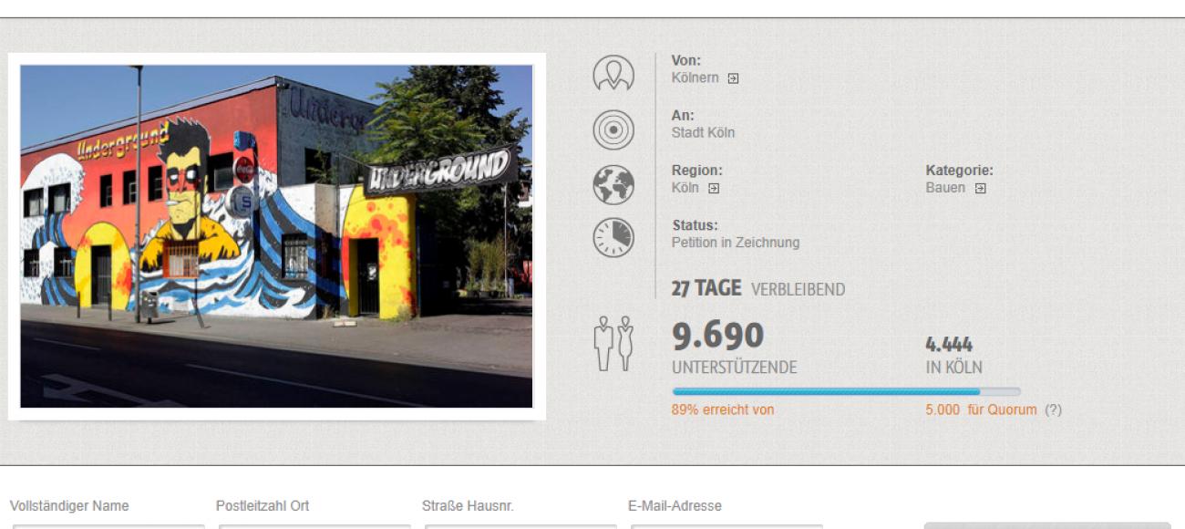 Petition zum Erhalt des Kölner Undergrounds